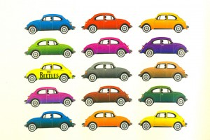 VW beetle images in multiple colours