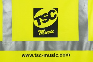 high visibility vest with TSC pressed onmusic