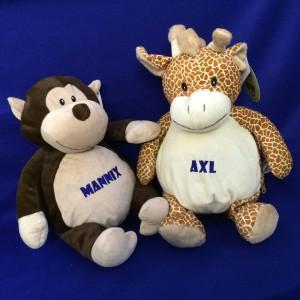 monkey & giraffe teddies