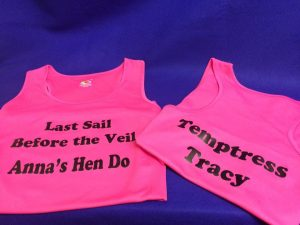 personalised hen do vests