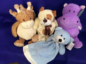 giraffe, bear, hippo & comforter teddies