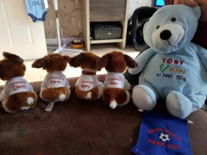personalised group of teddies