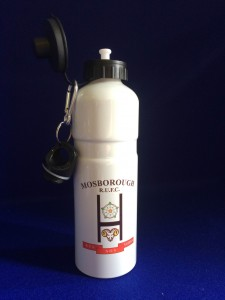 white aluminium water bottle