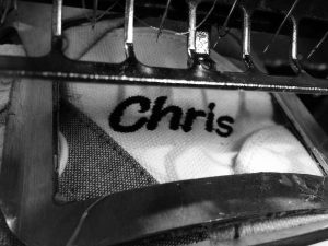 close up shoe on machine